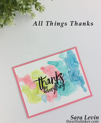 All Things Thanks watercolor background card from theartfulinker.com
