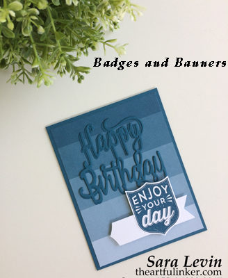 Badges and Banners masculine birthday card with Color Theory designer paper from theartfulinker.com