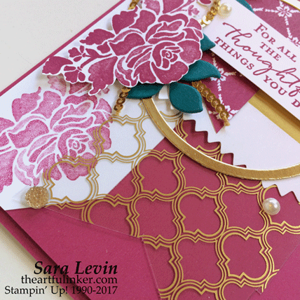 Floral Phrases for Stamping Sunday Blog Hop - Fancy Foil card - bottom detail from theartfulinker.com
