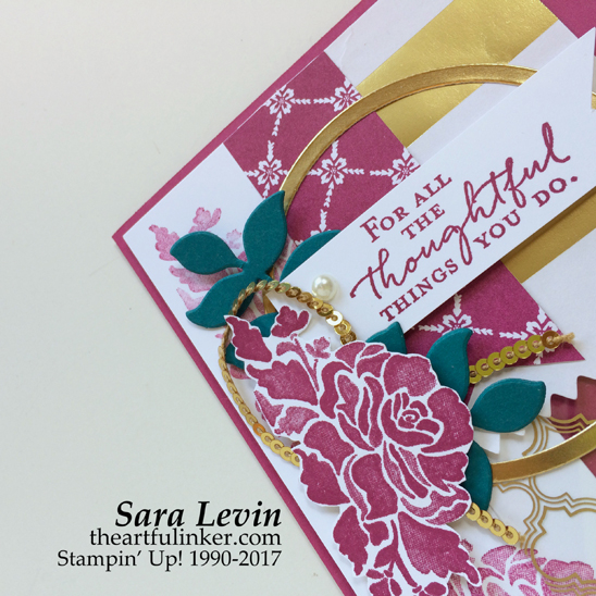 Floral Phrases for Stamping Sunday Blog Hop - Fancy Foil card top detail from theartfulinker.com