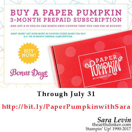 Paper Pumpkin Subscription and Bonus Days Coupon from theartfulinker.com