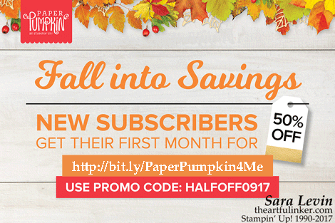 Paper Pumpkin Half Off for new subscribers through 9/10/17 from theartfulinker.com