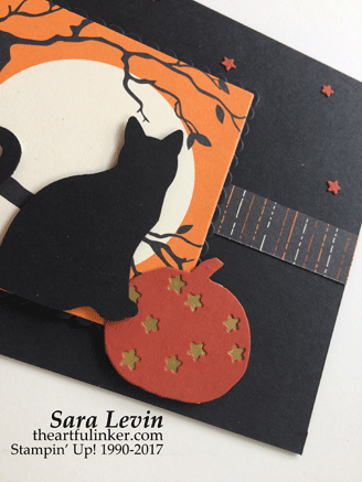 Simple Halloween Cat card - detail - from theartfulinker.com