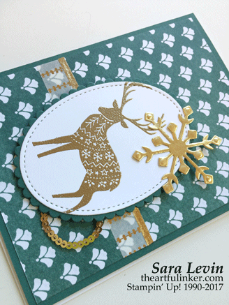 Merry Patterns in Tranquil Tide Christmas Card - detail - from theartfulinker.com
