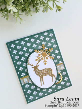 Merry Patterns in Tranquil Tide Christmas card from theartfulinker.com