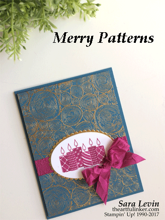 Merry Patterns Tree Rings handmade Chrismtas card from theartfulinker.com
