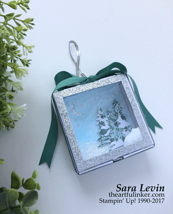 Stamping Sunday Blog Hop Mini Pizza Box Ornament from theartfulinker.com