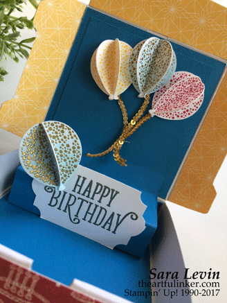 Stamping Sunday Blog Hop Mini Pizza Box Pop Up Birthday Card - open detail - from theartfulinker.com