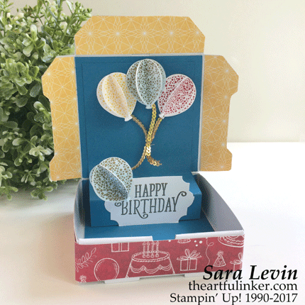 Stamping Sunday Blog Hop Mini Pizza Box Pop Up Birthday Card - open - from theartfulinker.com
