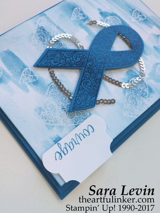 ICS Blog Hop Ribbon of Courage card for Alopecia - detail - from theartfulinker.com