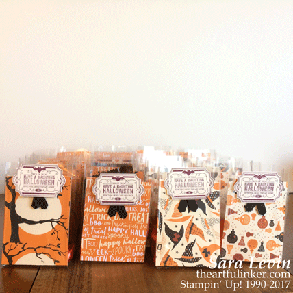 Quick Halloween Treat Bags using Spooky Night designer paper from theartfulinker.com