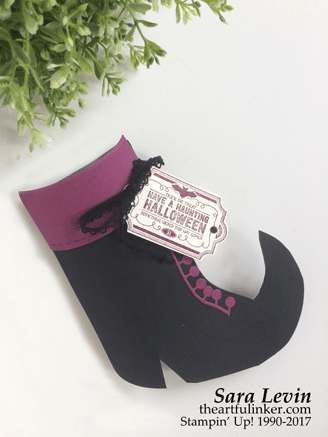 Trim Your Stocking Witch's Boot Halloween treat holder from theartfulinker.com