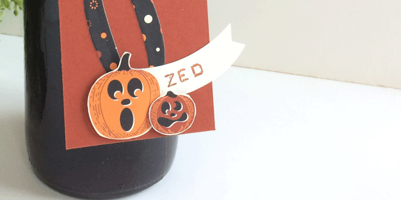 Halloween Wine Tag using Spooky Night designer paper from theartfulinker.com