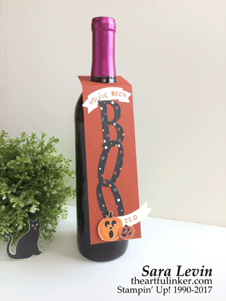 Halloween Wine Tag 2 using Spooky Night designer paper from theartfulinker.com