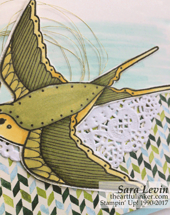Cheery Chirps with Painted Autumn card - detail 1 - from theartfulinker.com