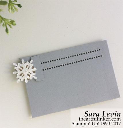 Stamping Sunday Blog Hop Snowflake Sentiments gift card holder - back detail - from theartfulinker.com