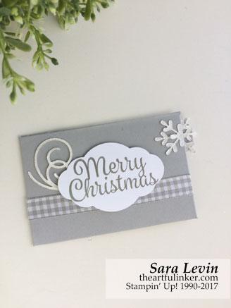 Stamping Sunday Blog Hop Snowflake Sentiments gift card holder from theartfulinker.com