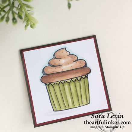 Coffee Cafe cupcake for Stamping Sunday Blog Hop Stampin' Blends from theartfulinker.com