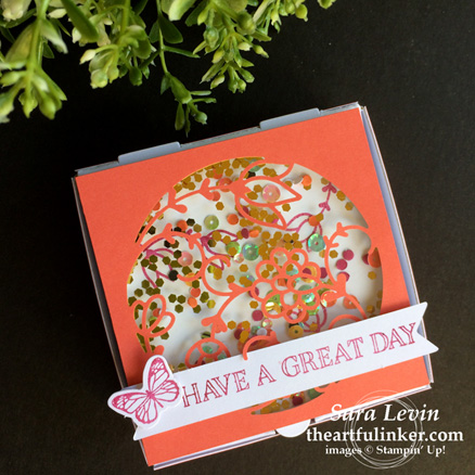 A Paper Pumpkin Thing Blog Hop Flora and Flutter shaker gift box pizza box from theartfulinker.com