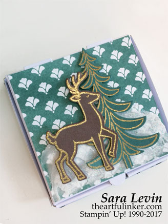 Santa's Sleigh for the Joy of Sets Christmas 2017 blog hop - mini pizza box 1 - from theartfulinker.com