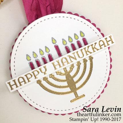 Seasonal Lantern Hanukkah Gift Tag - detail - from theartfulinker.com