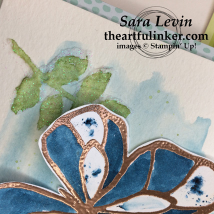 Stamping Sunday blog hop Brushos and Beautiful Day in Prussian blue - background detail - from theartfulinker.com