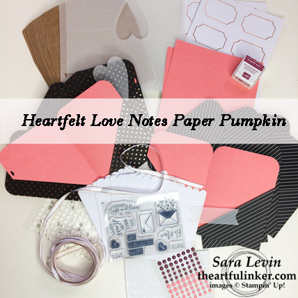 A Paper Pumpkin Thing blog hop Heartfelt Love Notes Paper Pumpkin Kit contents from theartfulinker.com