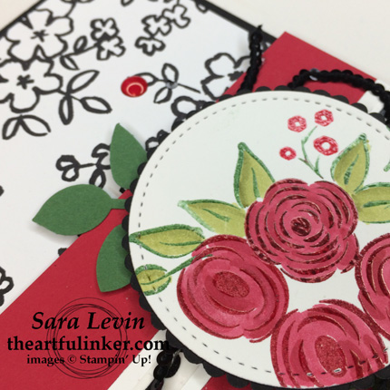 Perennial Birthday Black White and Red - flower detail - from theartfulinker.com