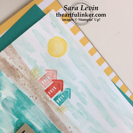 Waterfront Beach card building detail - from theartfulinker.com