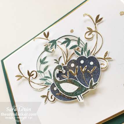 Beautiful Peacock birthday card - detail - from theartfulinker.com