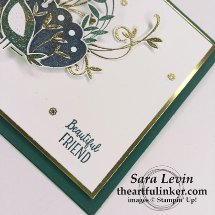 Beautiful Peacock birthday card - sentiment detail - from theartfulinker.com