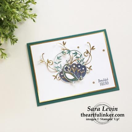 Beautiful Peacock birthday card from theartfulinker.com