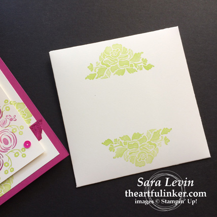 Creation Station blog hop celebrations of the heart Perennial Birthday wedding invitation - Floral Phrases envelope - from theartfulinker.com