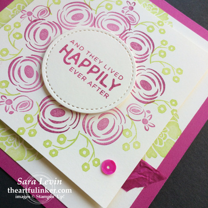 Creation Station blog hop celebrations of the heart Perennial Birthday wedding invitation - detail - from theartfulinker.com