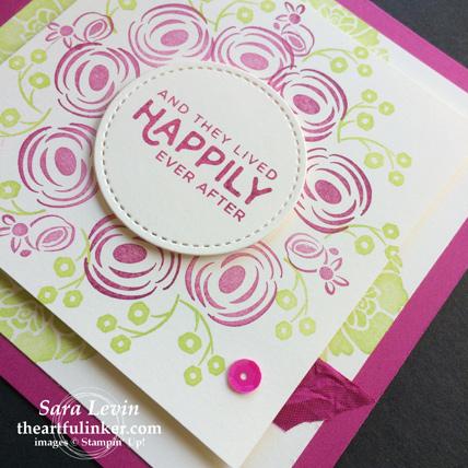Creation Station blog hop celebrations of the heart Perennial Birthday wedding invitation - detail - from theartfulinker.com