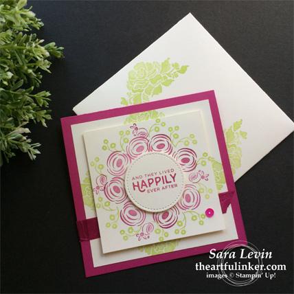 Creation Station blog hop celebrations of the heart - Perennial Birthday wedding invitation - from theartfulinker.com
