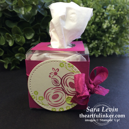 Creation Station blog hop celebrations of the heart Perennial Birthday wedding tissue box from theartfulinker.com
