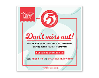 Five Year Anniversary Paper Pumpkin with free gift March 2018 from theartfulinker.com