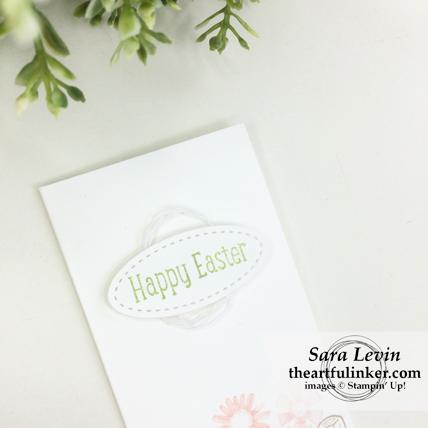 Stampin' Dreams Blog Hop Easter Garden Girl card - sentiment detail - from theartfulinker.com