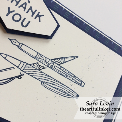Stamping Sunday Blog Hop True Gentleman Truly Tailored card - pen detail - from theartfulinker.com