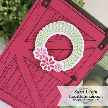 Barn Door treat box - wreath detail - from theartfulinker.com