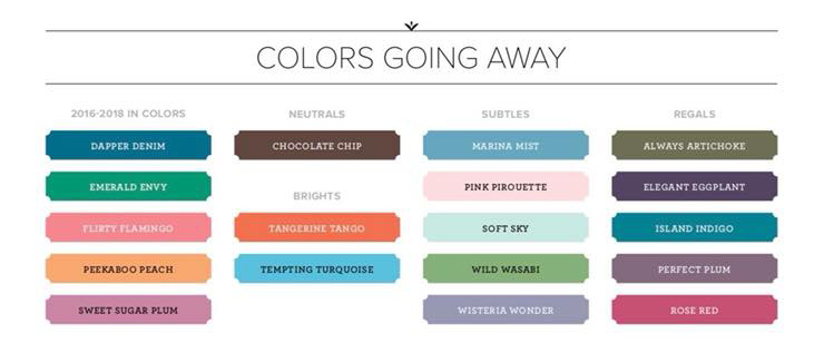 Retiring Stampin' Up! colors part of the Color Revamp 2018 - from theartfulinker.com
