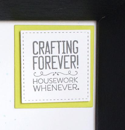 Crafting Forever home decor - framed art procraftinating moto - from theartfulinker.com