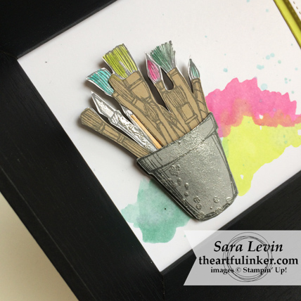 Crafting Forever home decor - framed art paintbrush detail - from theartfulinker.com