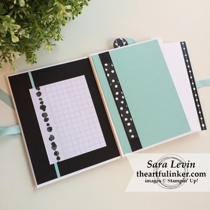 Stamping Sunday Blog Hop Memories and More Petal Passion mini album - side pocket page - from theartfulinker.com