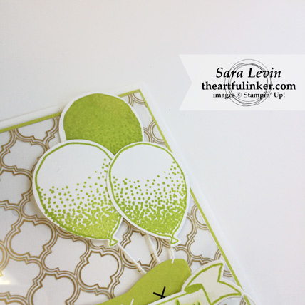 Balloon Celebration in Lemon Lime Twist card - balloon detail - from theartfulinker.com