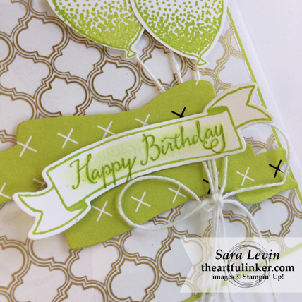 Balloon Celebration in Lemon Lime Twist card - sentiment detai- from theartfulinker.com