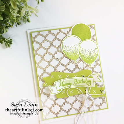 Balloon Celebration in Lemon Lime Twist card from theartfulinker.com