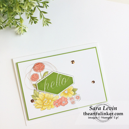 Accented Blooms Hello card using Stampin' Blends from theartfulinker.com