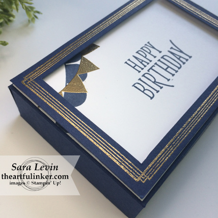 Pick a Pennant and Siwrly Frames masculine giftbox side view for Creation Station blog hop from theartfulinker.com